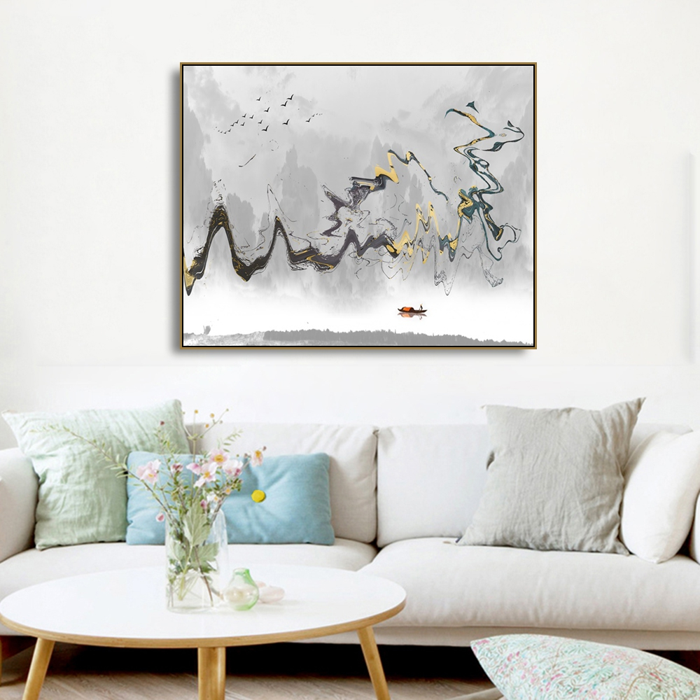 Watercolor Ink Scenery Painting Canvas Calligraphy Prints Home Decoration Wall Art Pictures For Living Room Bedroom