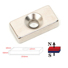 10pcs Hole Block Rare Earth Neodymium Magnet Rectangular Magnet Strong Block Cuboid Permanent Neodymium Magnets Magnet N52