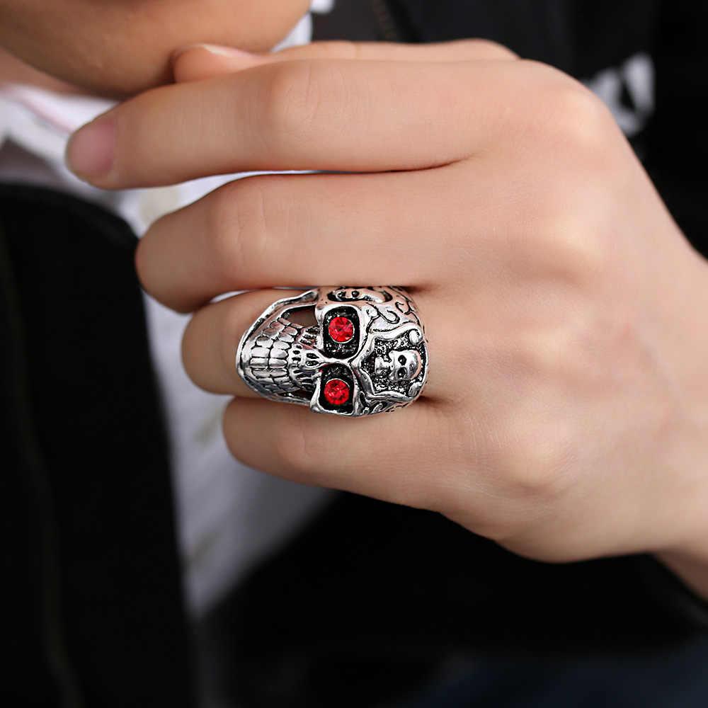 Мужская и женская мода хип-хоп Готический Череп Дракона байкерское кольцо в стиле рок/панк Серебрянные украшения в античном стиле цветочный тотем череп кольцо Прямая доставка