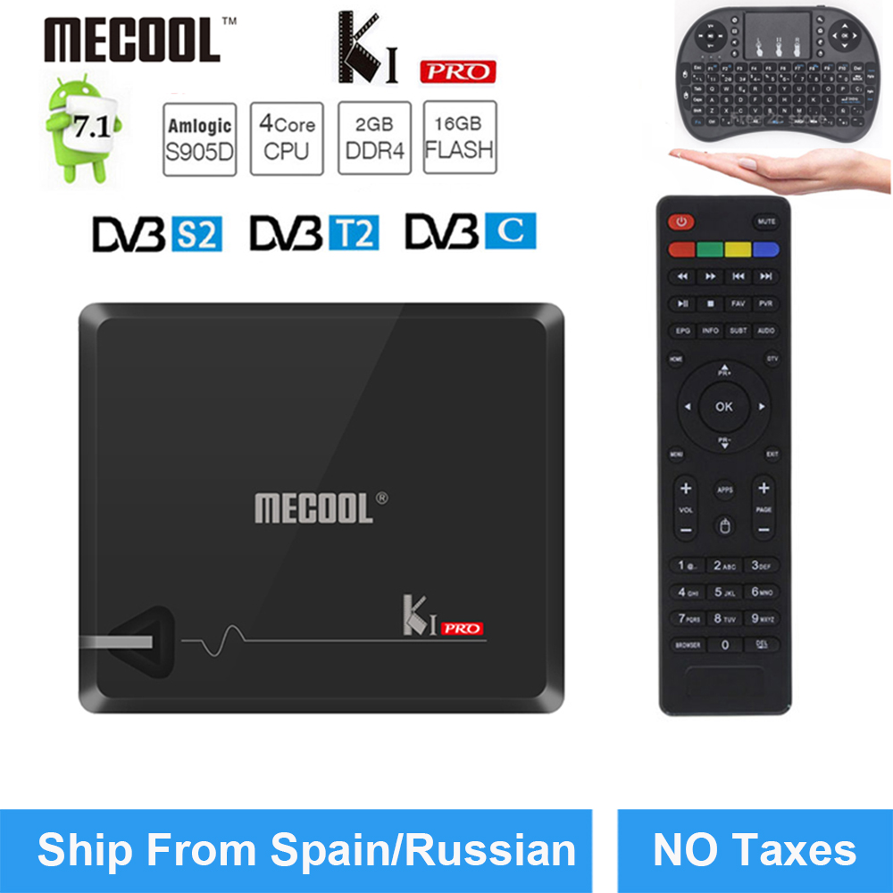 KI Pro Android TV Box 2GB 16GB DVB-T2 DVB-S2 Android7.1 Amlogic S905D Dual WIFI KI pro 4K Smart TV Box+i8 Keyboard Support Cccam цена 2017