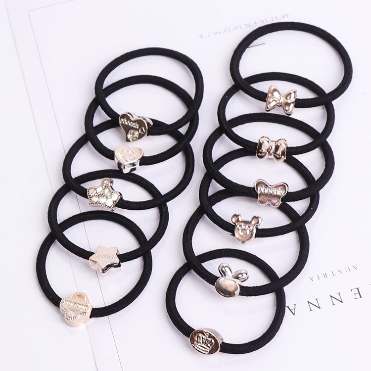 Conscientious 10pcs/lot Elastic Hair Bands Hair Accesories With Coated Golden Decoration Connect Scrunchie Ponytail Elegant And Sturdy Package Girl's Accessories