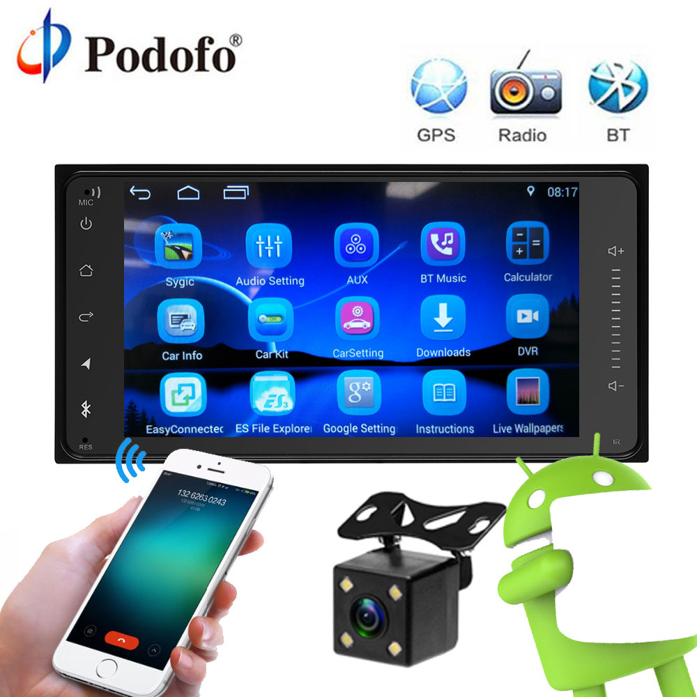 Podofo 7 HD 2 Din Android Gps Radio Player For Toyota Full Touch Bluetooth Car Multimedia Player MP5 Player Wifi Autoradio