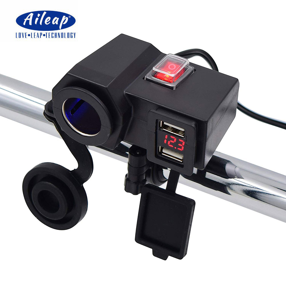Aileap Motorcycle Cigarette Lighter Socket Dual USB Ports Phone Charger Adapter With Battery Voltmeter And Power Switch