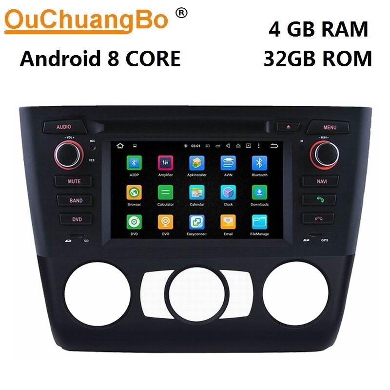 Ouchuangbo android 8.0 voiture multimédia stéréo gps navigation radio pour E81 E82 E88 manuel avec 1080 P wifi 8 core 4 GB + 32