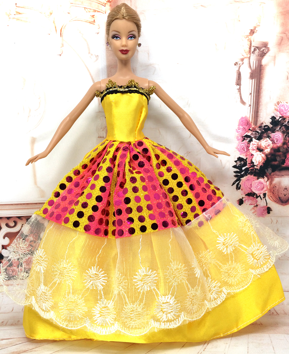 NK One Pcs Princess Doll Wedding Dress Noble Party Gown For Barbie Doll Fashion Design Outfit Best Gift For Girl' Doll 035A