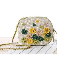 Beach Bag 2017 Women Summer Flower Rivet Straw Weave Messenger Bag Famous Brands Designer Shouler Bags