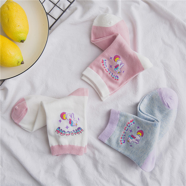 Cute Unicorn Printed Crew Length Women's Socks