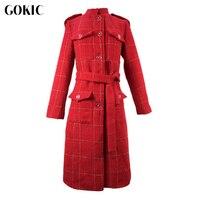 GOKIC New Vintage Red Tweed Jacket 2017 Autumn Winter Elegant Coat Female Slim Long Sleeved Buttons