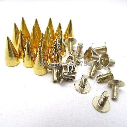 100 sad 13MM zlatá barva kovová kulička hrot punk taška pásová obuv oblečení kožená kužel nýt DIY doprava zdarma