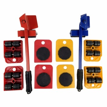 2018 New 5pcs Furniture Transport Hand Tool Set Furniture Lifter Heavy Mover Rollers 4 Wheeled Corner Movers + 1 Wheeled Lifter Hand Tools