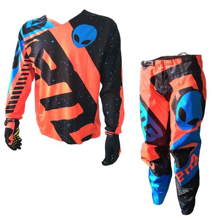 2018 Новый ETBIKE Мотокросс костюм Мотобайкеры гонки езда Джерси + брюки на мотоциклах MX ATV Байк наборы одежды оранжевый