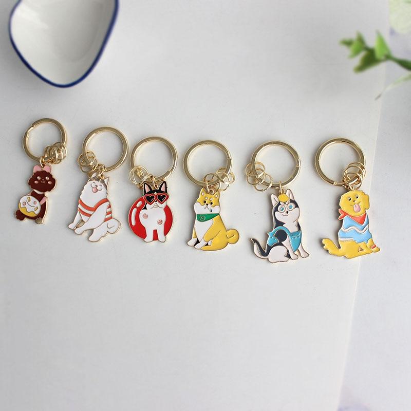 SANSUMMER Key Chains Cute Girl Heart Small Animal Dog Keychain Siberian Husky Shiba Inu Alaska Poodle Key Chain Llaveros 6011