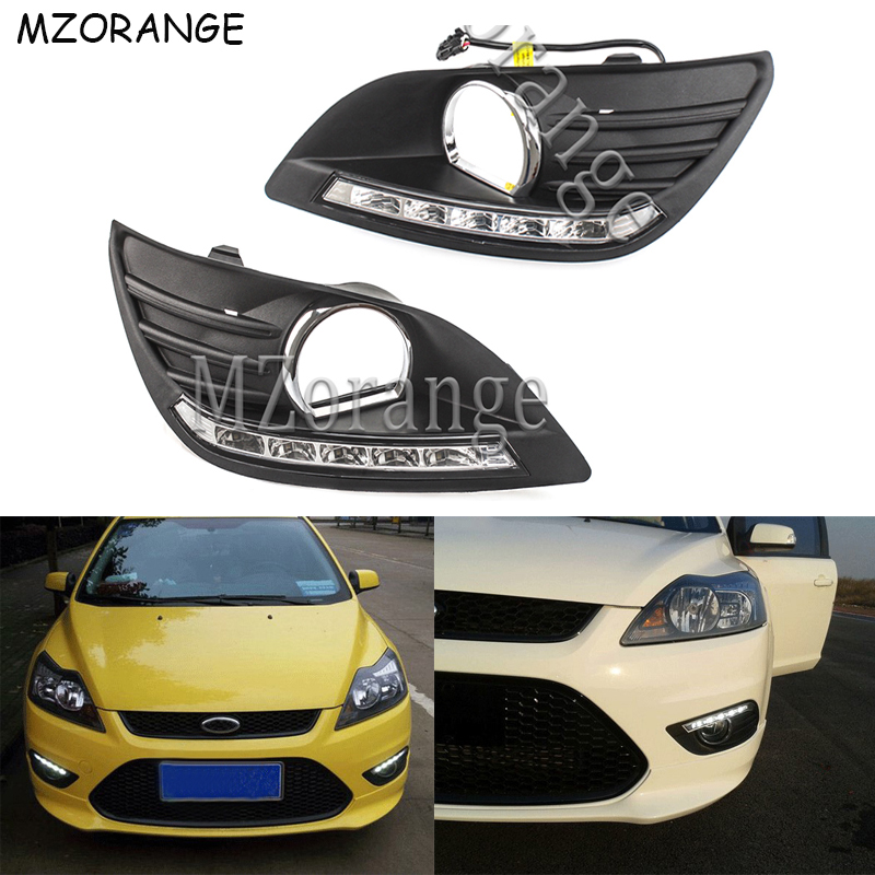 LED Daytime Running Light For Ford Focus Sedan 2009 2010 2011 2012 2013 DRL Car styling 5 LEDs Driving Daylight Fog Lamp Cover in Signal Lamp from Automobiles Motorcycles