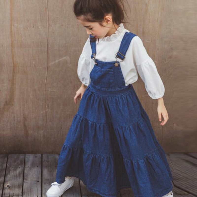 2018 Spring Clothes For Girls Long Sleeve White Blouses & Shirts + Denim Shirts Girls Clothing Set 4-14Y Kids Sets Costume Sale стоимость