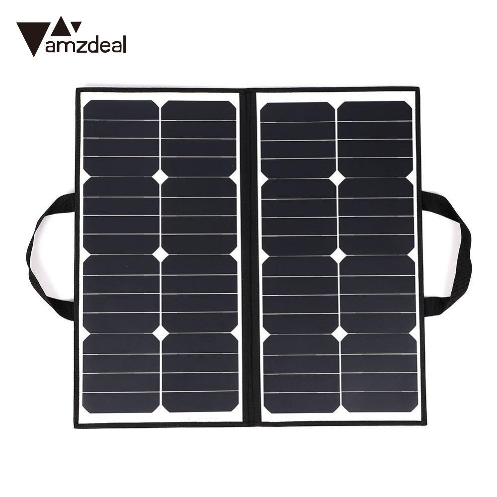 amzdeal Portable 50W 18V Solar Panel Outdoor Camping Waterproof Folding Solar Power Panel Charger For Battery Covenience цена и фото
