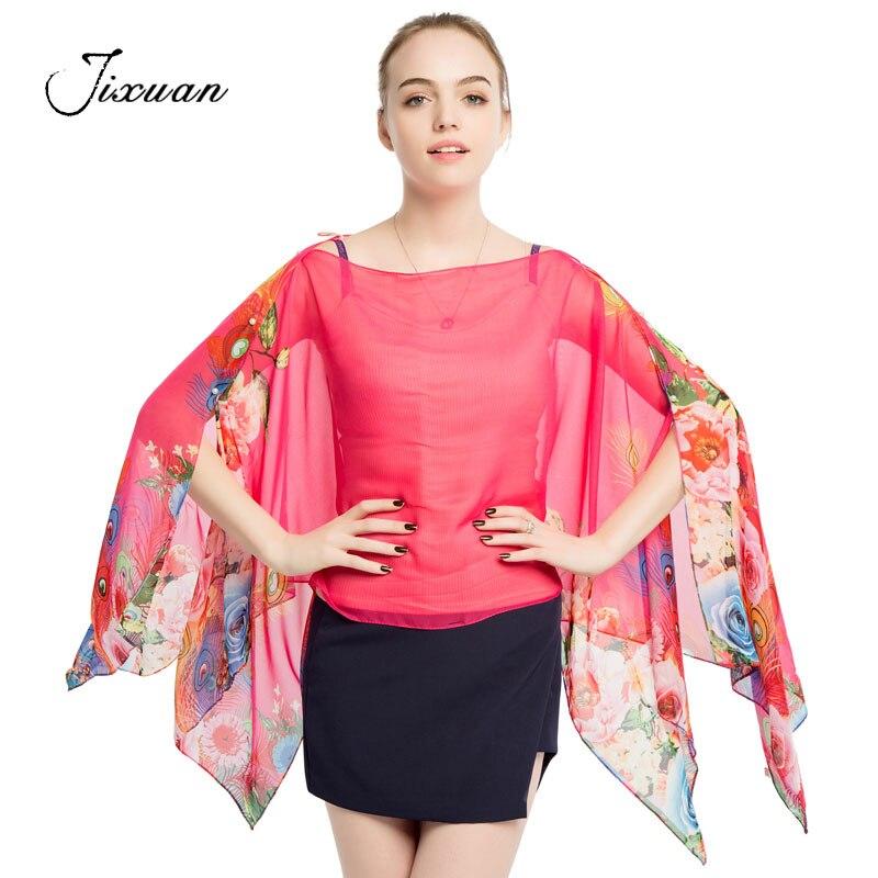 hot sale fashion womens scarves summer spring silk capes sunscreen pashmina chiffon beach shawls print female soft clothing