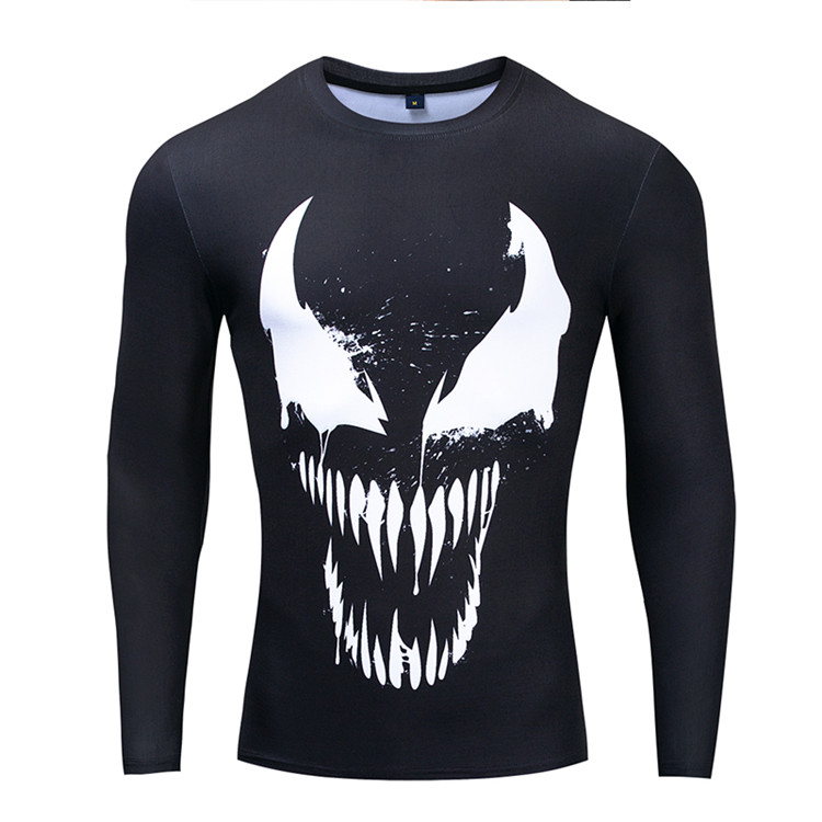 2019 Black Venom Spiderman Compression Shirt Men Fitness Long Sleeve T shirts Join Skin Bodybuilding Workout Sportswear Tops