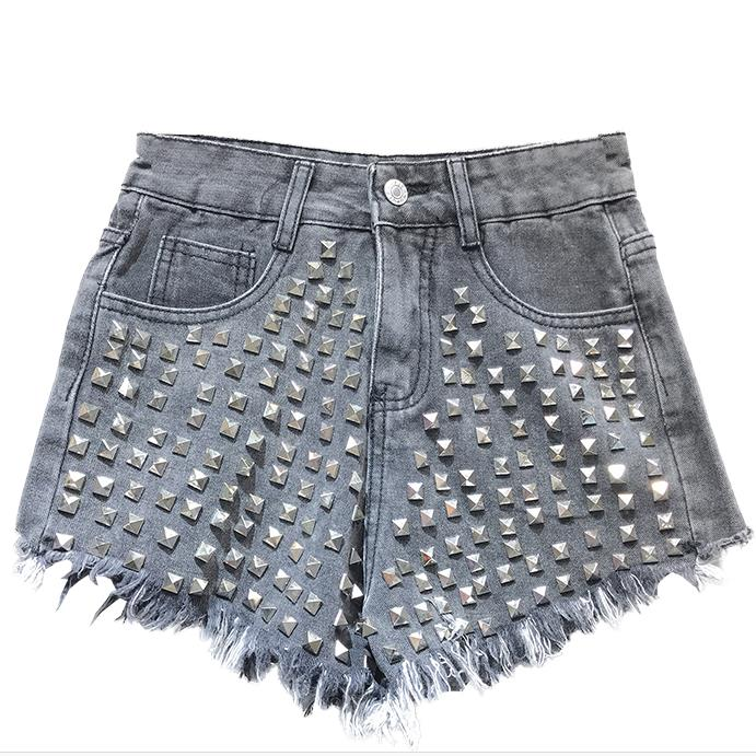 Vintage Rivet High Waist Denim Shorts Women Tassel Ripped Loose Short Jeans