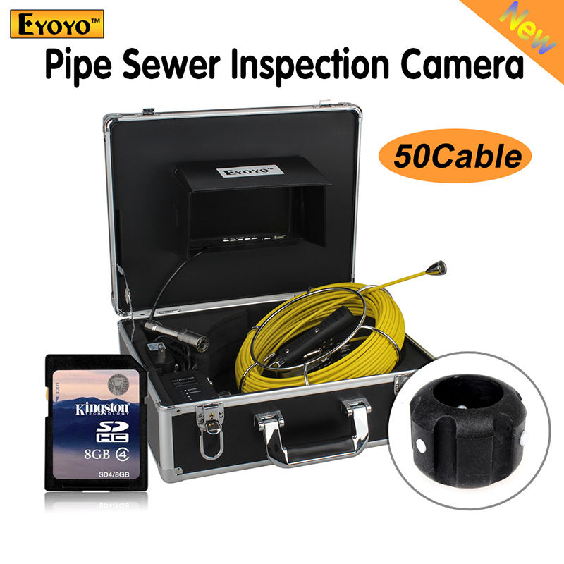 50M 7Display Pipe Pipeline Drain Inspection Sewer Video Camera Snake Inspection Free shipping 7 tft sewer pipe inspection snake video camera 600tvl 12 led 30m osd regulation stainless steel lens pipeline drain w2022