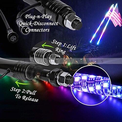 1 pc Twist Style multicolore LED fouet lumière 3FT, 4FT, 5FT disponible - 4