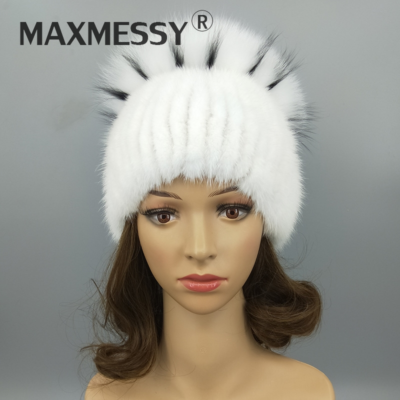 5076b1b6230921 ... Girls Ski Fur Pom Poms Cap Y030. MAXMESSY Fashion Women Real Mink Fur  And Fox Fur Earflap Hat Thick Warmth Knitted Beanies Winter