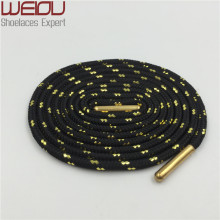 Weiou Sports boot laces metallic Shiny Gold shoelaces white black round glitter Bootlaces fun Shoe laces Strings 125cm/49""