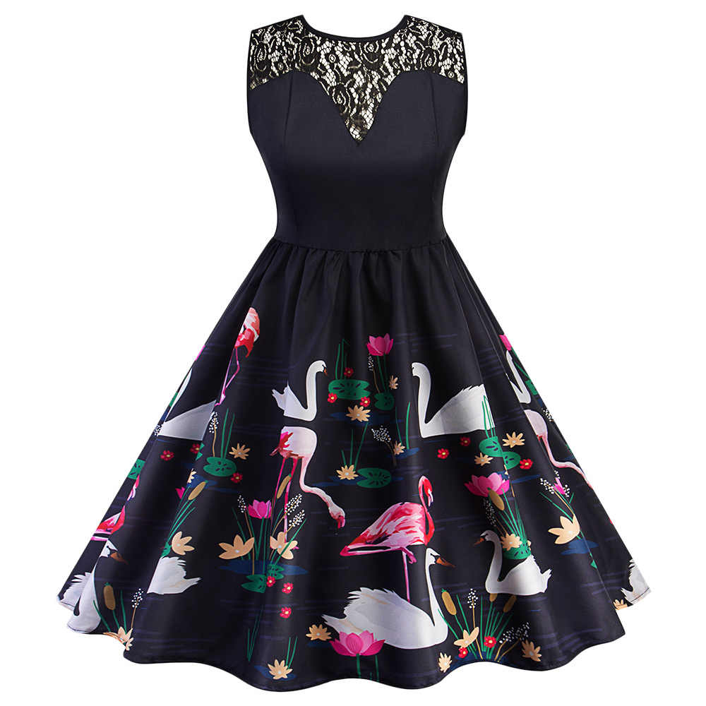 09e155b62fe Wipalo Фламинго печати Винтаж женское платье без рукавов с круглым вырезом  с цветочным принтом кружевное платье