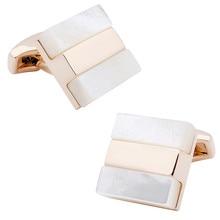 Розничная продажа Мода квадратный Для мужчин Модные украшения Бизнес французский 2 кнопки рубашка Перламутр запонки