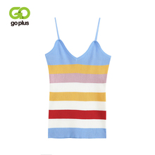 GOPLUS Summer Colorful stripes Knitted Tank top Women Blouse Sexy V Neck Sleeveless Vest Casual streetwear Club Camis Female