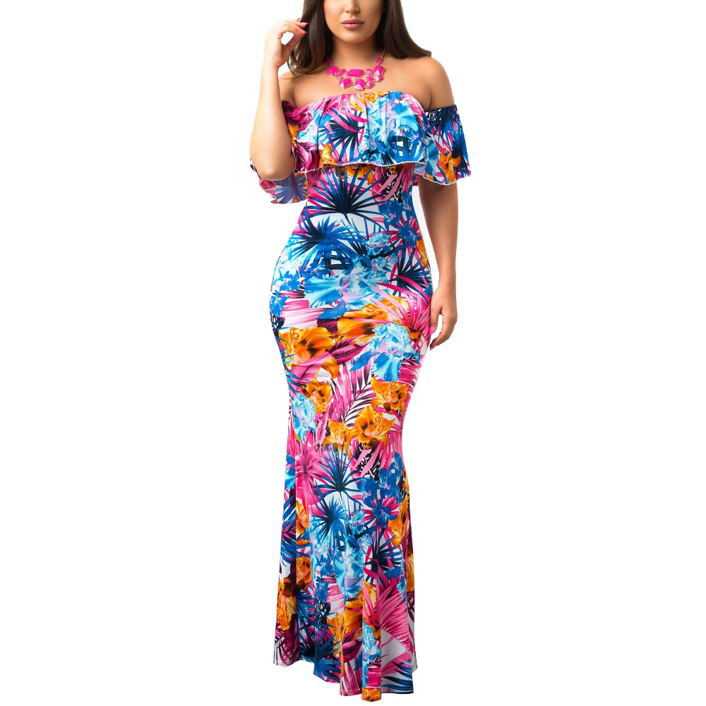<font><b>2019</b></font> Maxi Dress Ruffle Flower print sexy summer long beach dress off shoulder <font><b>vestido</b></font> <font><b>largo</b></font> <font><b>verano</b></font> <font><b>mujer</b></font> <font><b>2019</b></font> ropa playa longo image