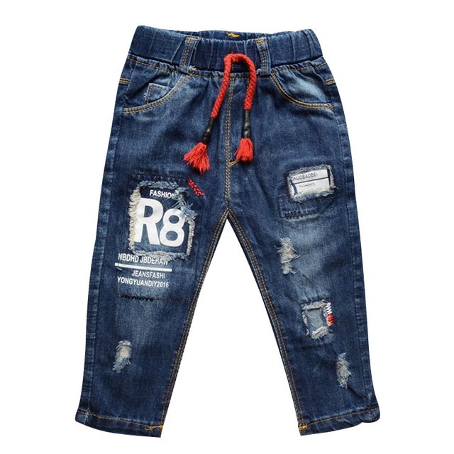 Spring Autumn Toddler Baby Fashion Cowboy Long Pants Children Boys Girls Letters Printed Hole Borken Jeans Kids Casual Trousers