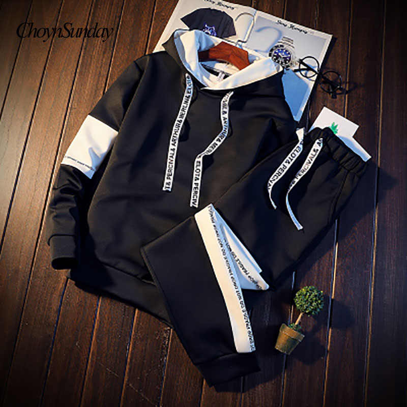 2018 Brand Sporting Suit Men Warm Hooded Tracksuit Track Polo Men's Sweat Suits Set Letter Print Large Size Sweatsuit Male 3XL