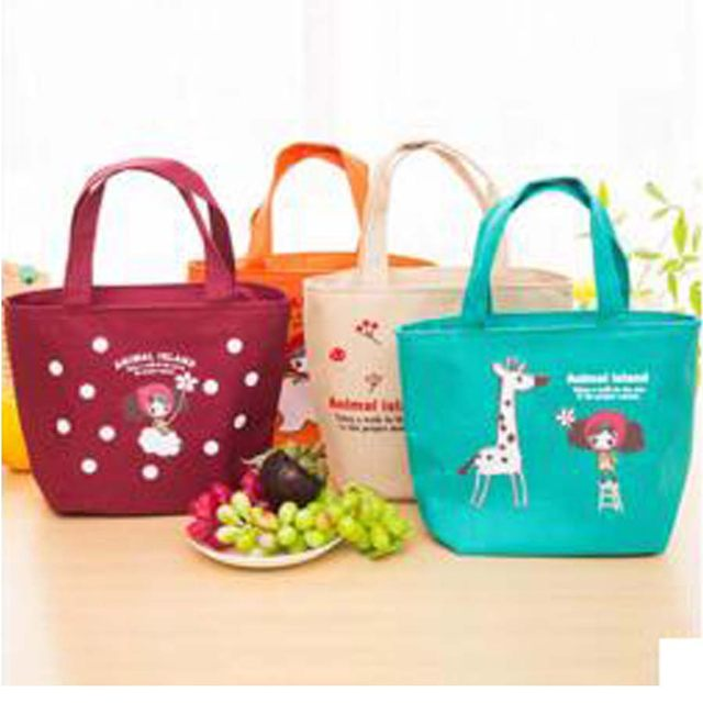 Cuty Pattern Oxford Lunch Bag Women Cute Cartoon Handbag Lunchbox Children Office School Picnic Lancheira Vy