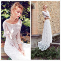 New Arrival 2 Pieces Bridal Wedding Dresses 2017 Hot Long Sleeves Boat Neck Lace Court Train Summer Beach Bridal Gowns