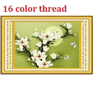 16 color thread 3D Magnolia cross stitch kit silk embroidery flower cross-stitch painting DIY handmade needlework set home decor