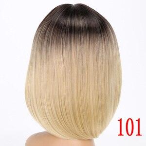 Image 3 - MERISI HAAR Kurze Perücke Gerade Bob Frisur Synthetische Haar Braun Gelb Ombre Grau Lila Perücken Für Frauen 12 inch Freiheit
