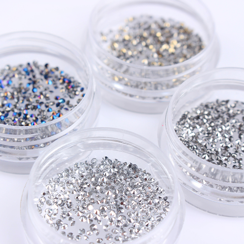 300Pcs/Bag 1.2mm Shiny Micro Nail Rhinestone Sharp Bottom Beads 3D Manicure Nail Charms Nail Art Decoration Accessories 4 6 waterdrop shape 3d nail art sharp bottom glass rhinestone nail tip decoration phone decor accessories 10pc