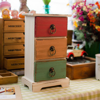 Free Shipping! Vintage Style Wooden Storage Drawers 3 Drawers Wooden Box Storage Case Home Decoration Gift