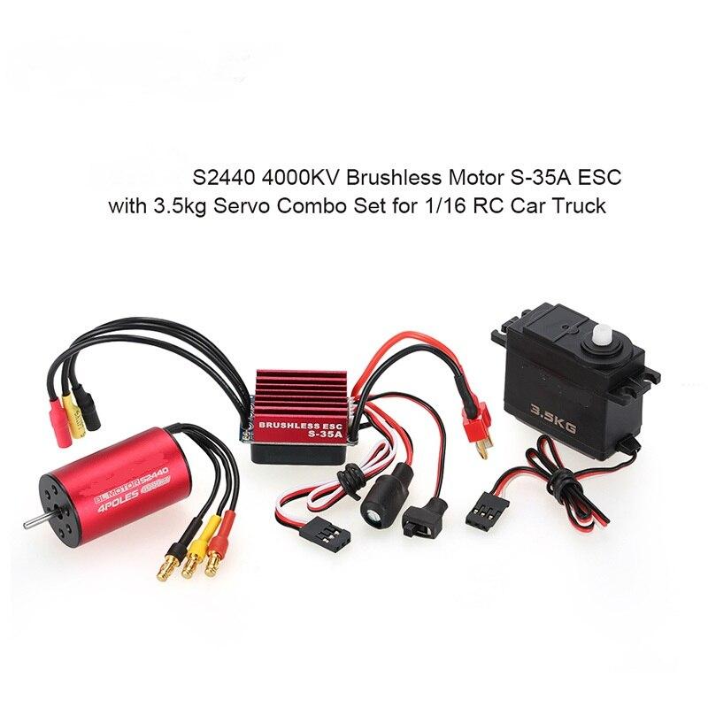 1/セット S2440 4000KV ブラシレスモーター S 35A ESC 3.5 キログラムサーボアップグレードブラシレスコンボセットのため 1/16 Rc カートラックパーツ  グループ上の おもちゃ & ホビー からの パーツ & アクセサリー の中 1