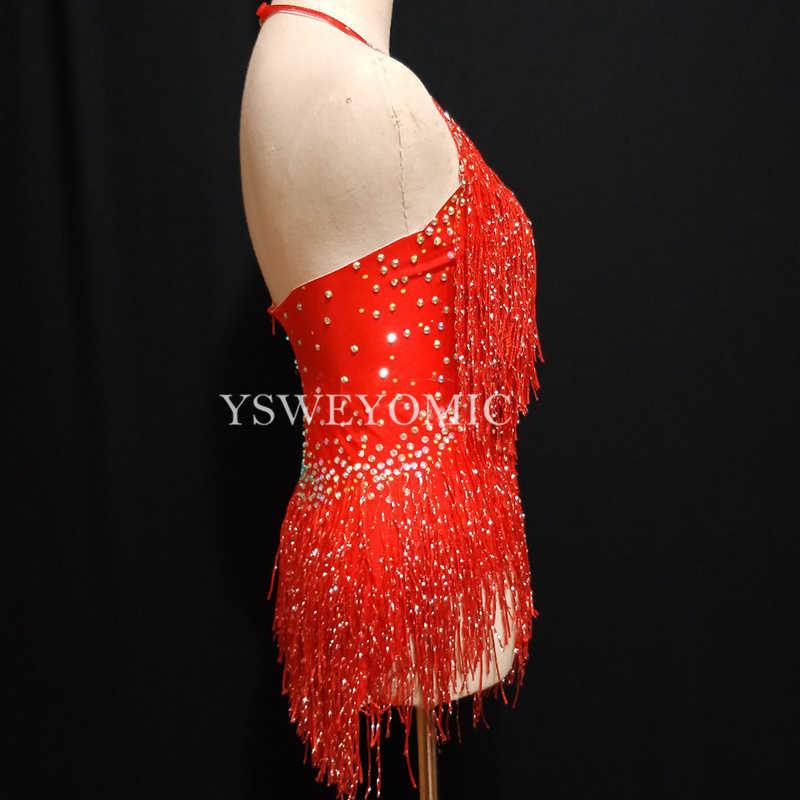 2 farbe Rot Lila Big Stretch Party Prom Bar Outfit Bühne Sängerin Zeigen Strampler Quaste Bühne Body für Frauen