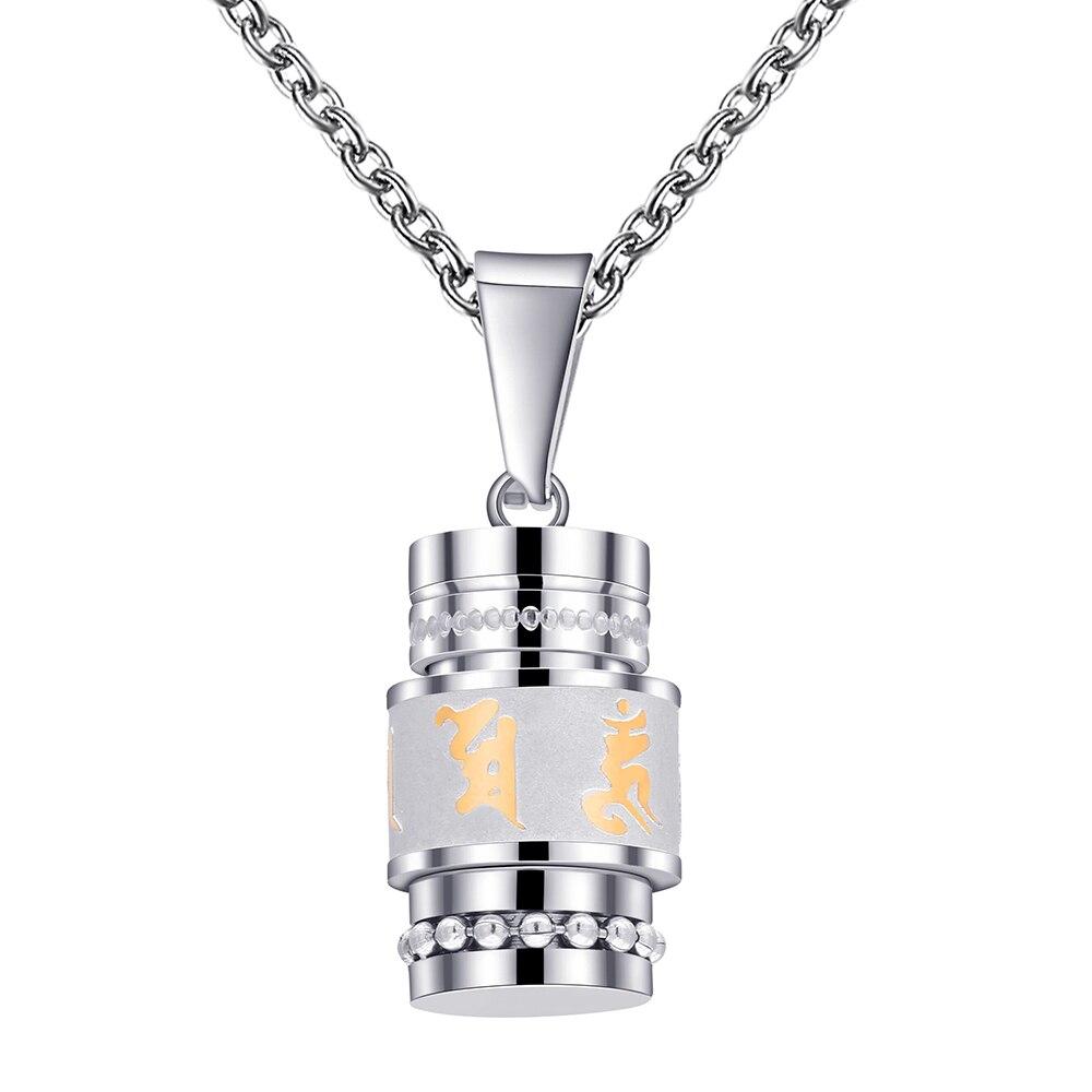 Gold Silber Farbe Om Mani Padme Hum Spinner Anhänger Halskette Für Frauen Buddhismus Stil Gebetsmühle Edelstahl Männer Schmuck