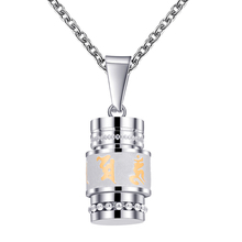 Gold Silver Color Om Mani Padme Hum Spinner Pendant Necklace For Women Buddhism Style Prayer Wheel Stainless Steel Men Jewelry