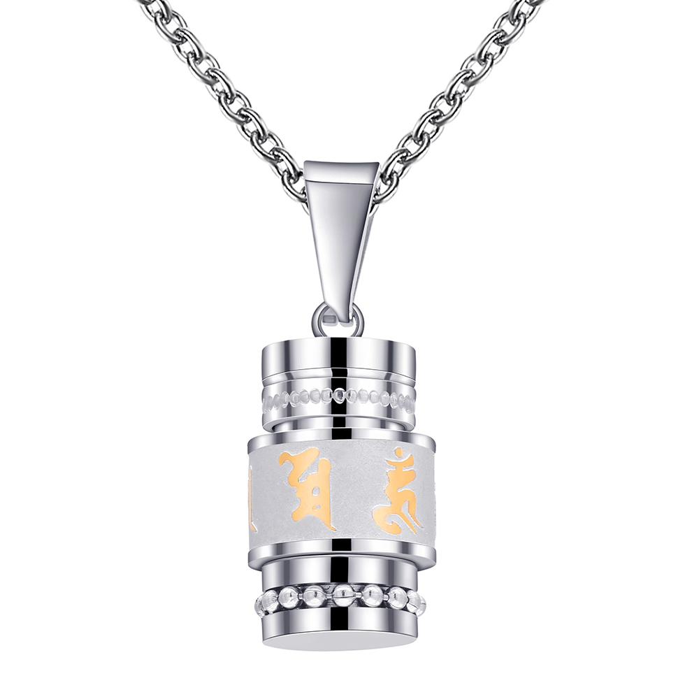 Oro plata color om mani padme hum SPINNER colgante collar para las mujeres estilo budista oración Acero inoxidable hombres joyería