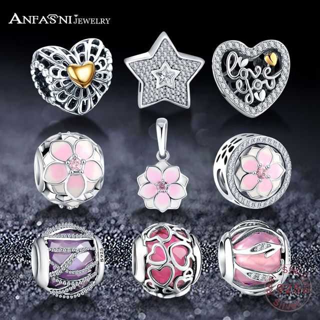 Dropshiping ANFASNI Fashion Beads Charms With Authentic 925 Sterling Silver Fit Pandora Charm Bracelet Beads Silver Fine Jewelry