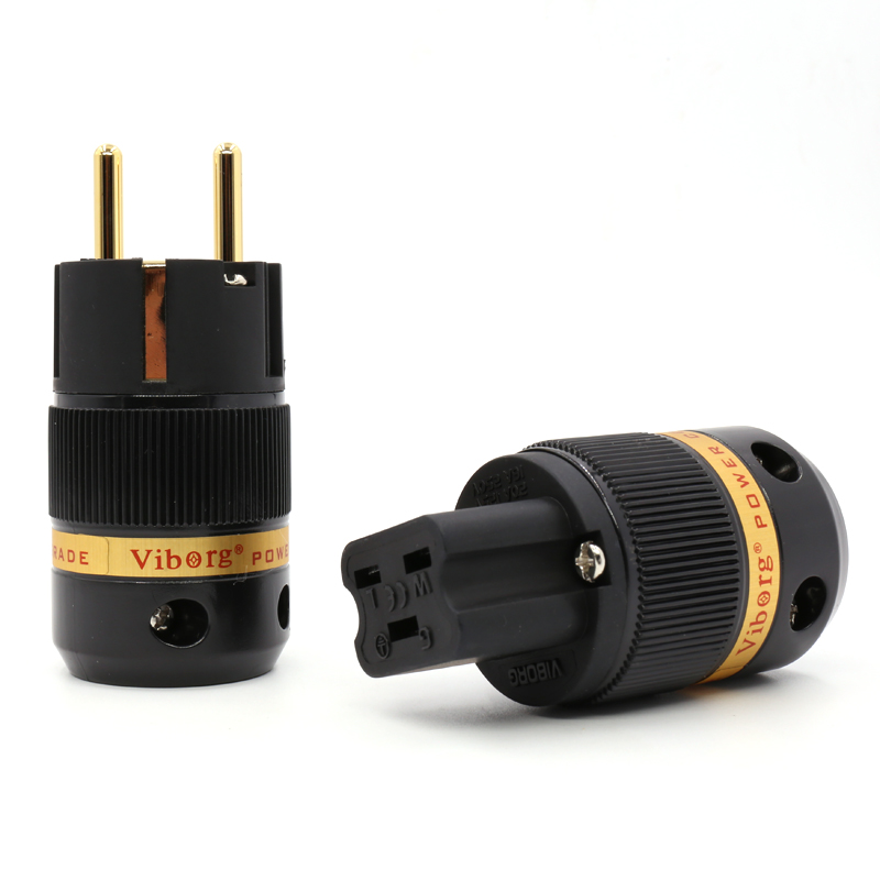 Free shipping Pair Viborg VE501G+VF520G 99.999% Pure Copper 24K gold plated EU Male & 20A IEC Female power Plug Connector free shipping one pair copper colour red copper gold plated carbon shell us power plug iec plug