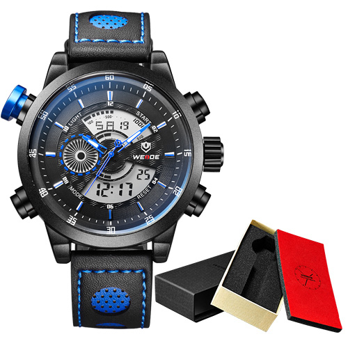 WEIDE luxury Casual Genuine Analog Quartz Digital Display  Sport Watch Men Waterproof Genuine Leather Strap Alarm Clock Gift Box weide casual luxury genuin new watch men quartz digital date alarm waterproof clock relojes double display multiple time zone