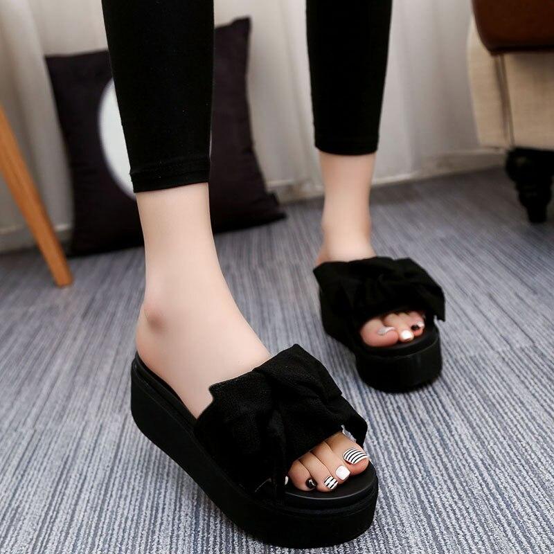 Big Bowtie Woman Beach Flip Flops Summer Sandals Slip Resistant Slippers Platform Sandals Size 34 39