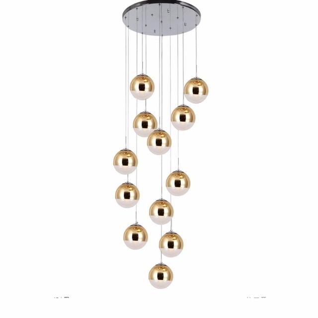 Modern led Pendant light Nordic Creative Stair Lamp Living Room Glass Ball Hanging Lamp Double Staircase Long Pendant Lamp Cord