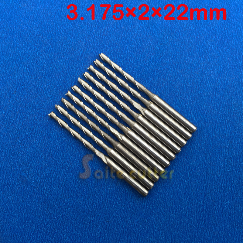 10pcs 3.175 Carbide CNC Milling Cutters Tools 2 Double Two Flute Spiral Bit Router End Mill CED 2mm CEL 22mm 10pcs 2 0 mm 2mm single flute carbide spiral end mills router bit 8mm cel