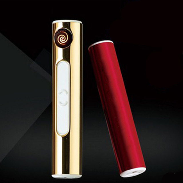 Cigarette Lighter USB Lighter Flameless Cigar windproof gold metal pipe torch lighterPortable Electronic Rechargeable Tobacco